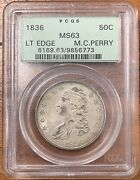 1836 Capped Bust Half Dollar Pcgs Ms63nice Coin