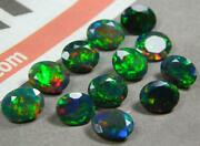 Natural Black Opal Oval Shape Faceted Cut Loose Gemstone Size 7x9mm Aaa Color