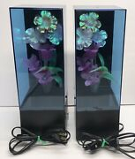 Vintage 1988 Lot Of 2 Yirng Shehng Fiber Optic Lamps Flowers And Birds Works Used