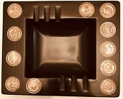 """1960's Couroc Of Monterey Ashtray/11 State Great Seals Coins 6 3/8""""x7 7/8"""""""