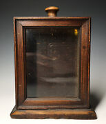 Antique Hand Carved 19th C. Wood And Glass Pocket Watch Display Box Holder Case