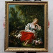 Old Master-art Antique Oil Painting Portrait Fairy Girl Sheep On Canvas 30x40