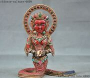 6 Tibet Red Coral Inlay Turquoise Gem Carving Snake Body Kwan-yin Buddha Statue