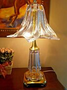 Magnificent Mid Century Art Vannes France Hand Blown Glass Crystal And Brass Lamp