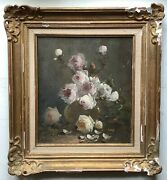 To Restore 19th Century Oil Painting Impressionism Bouquet White Roses