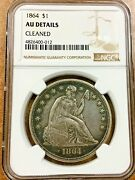 1864 Seated Liberty Silver Dollar Ngc Au Details Really Nice For This Date