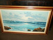 V.romano Seascape Oil On Canvas Vintage 1950s Large Painting.
