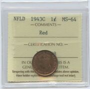 1943 Newfoundland One Cent - Iccs Ms-64 Red Certxqc598