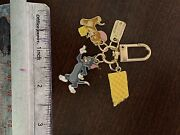 Tom And Jerry Quality Golden Enamelled Metal Key Tiny Keychain Tom And Jerry