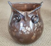 Vintage Owl Vase Art Blown Glass Amber With Gold Circles 8 1/4 Tall Unbranded