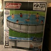 Coleman 22and039 X 52 Power Steel Frame Swimming Pool Set With Pump Ladder And Cover