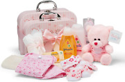 Baby Gift Set – 2 Pink Baby Girl Keepsake Boxes Filled With Baby Gifts
