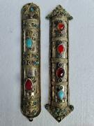 Judaica, Pair Of Silver And Mixed Metal's Jewish Mezuzah With Agate Stones