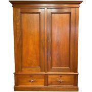 Large Scale Victorian Walnut Armoire / Wardrobe In Three Parts