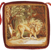 Needlepoint Chair Cushion Handmade Lion In The Jungle Seat Pad With Ties 18x18