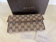 Women's 231841 Canvas Leather Gg Guccissima Continental Wallet W/coin Slot