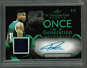 2020 Leaf In The Game Used Sports Giannis Antetokounmpo Auto Jersey 2/2 Super Sp