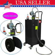30 Gallon Gas Caddy Tank Storage Drum Gasoline Diesel Fuel Transfer Rotary Pump