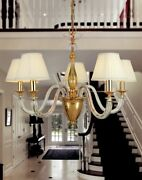 Suspended Lights Classic In Metal And Crystal Clear Gold