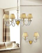 Suspended Lights Classic With Crystal Transparent Gold
