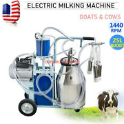 110v Electric Milking Machine For Farm Cows Bucket 25l Stainless Steel Bucket Us