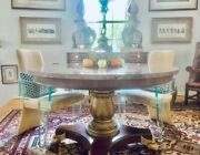 L49457ec Drexel Round Marble Top Neoclassical Center Or Dining Table