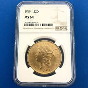 1904 P 20 Ngc Ms64 Liberty Gold Double Eagle Better Date Philadelphia Mint Coin