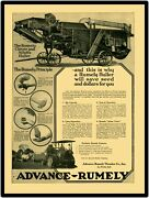 1919 Advance Rumely Huller W Tractor New Metal Sign Large Size 12 X 16