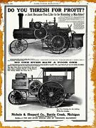 1915 Nichols And Shepard New Metal Sign Traction Engine Large Size - 12 X 16