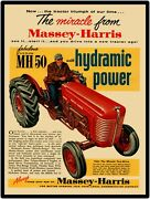 Massey Harris Mh 50 Tractor New Metal Sign Large Size 12 X 16