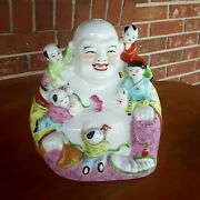 9 Tall Porcelain Laughing Buddha With Children Statue Stamped