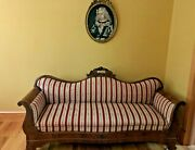 Antique Victorian Sofa Hand Carved Wood, Re-upholstered Pristine