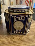 Vintage Tetley Choide Tea Tin Canister Blue With White And Gold