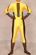 Yellow/coffee Lycra Superhero Catsuit Costumes Unisex Super Hero Suit Outfit 226