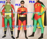 Unisex Superhero Costume 3 Style Lycra Robin Suit Catsuit Costumes With Cape 265