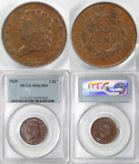 1829 1/2c C-1 Classic Head Half Cent Pcgs Ms 63 Bn Earlier Die State