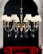Suspended Lights Classic With Crystal Clear Gold Lampshade