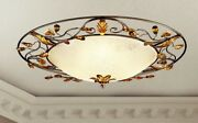 Ceiling From Ceiling Classic With Glass Of Murano And Crystal Gold Silver