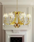 Suspended Lights Classic With Crystal Clear Gold Yellow