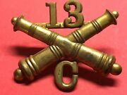 1896-1900 U.s. Army Artillery Corps Enlisted C Battery 13th Regt. Cap Device