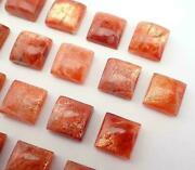 Natural Sunstone Cabochon Loose Gemstones Square Shape For Size 21mm To 25mm