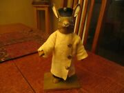 7 1/4 Antique Papier Mache Rabbit Chauffeur Candy Container Mkd Germany