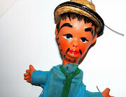 Vintage 14 Marionette Puppet With Paper Mache Head With Straw Hat