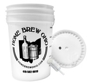 Home Brew Ohio 6.5 Gallon Fermenting Bucket With Grommeted Lid And Three-piece