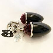 1937 Ford Tail Lights With Custom Lens And S/s 90 Degree Stands -vintique - 1 Pair