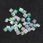 Natural Ethiopian Opal Square Faceted Cut Loose Gemstone Size 5mm Aaa Opal