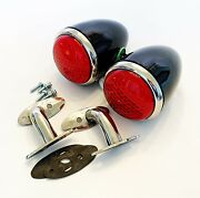 1937 Ford Tail Lights Led With Custom S/s 90 Degree Stands- Vintique- 1 Pair