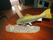 Hand Carved Wood Rainbow Trout Fish Mounted On Driftwood By Capt. Bill Coite