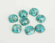 Natural Blue Copper Turquoise Loose Gemstones 16mm To 20mm Cushion Cabochon