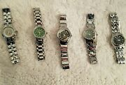 New Wholesale Mixed Lot Of 5 Stainless Steel Geneva Ladies Womans Watches